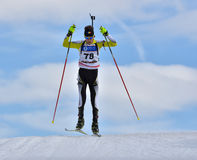 Cheile Gradistei, Roamania - January 28: Unknown competitor in IBU Youth&Junior World Championships Biathlon 24th of January 2016 Royalty Free Stock Photography