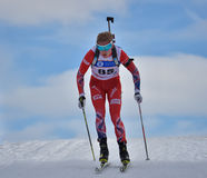 Cheile Gradistei, Roamania - January 28: Unknown competitor in IBU Youth&Junior World Championships Biathlon 24th of January 2016 Royalty Free Stock Image