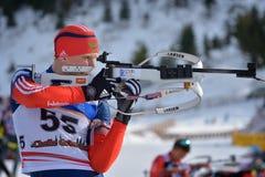 Cheile Gradistei, Roamania - January 24: Unknown competitor in IBU Youth&Junior World Championships Biathlon 24th of January 2016 Stock Photos