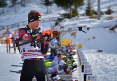 Cheile Gradistei, Roamania - January 24: Unknown competitor in IBU Youth&Junior World Championships Biathlon 24th of January 2016 Stock Images