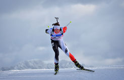 Cheile Gradistei, Roamania - January 24: Unknown competitor in IBU Youth&Junior World Championships Biathlon 24th of January 2016. Cheile Gradistei, Roamania Royalty Free Stock Photo