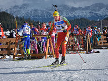 Cheile Gradistei, Roamania - January 24: Unknown competitor in IBU Youth&Junior World Championships Biathlon 24th of January 2016 Stock Photo