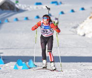 Cheile Gradistei, Roamania - January 30: Unknown competitor in IBU Youth&Junior World Championships Biathlon 24th of January 2016. Cheile Gradistei, Roamania Royalty Free Stock Photo