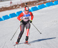 Cheile Gradistei, Roamania - January 30: Unknown competitor in IBU Youth&Junior World Championships Biathlon 24th of January 2016. Cheile Gradistei, Roamania Royalty Free Stock Images