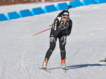 Cheile Gradistei, Roamania - January 30: Unknown competitor in IBU Youth&Junior World Championships Biathlon 24th of January 2016. Cheile Gradistei, Roamania Stock Image
