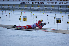 Cheile Gradistei, Roamania - January 24: Unknown competitor in IBU Youth&Junior World Championships Biathlon 24th of January 2016. Cheile Gradistei, Roamania Stock Photos