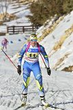 Cheile Gradistei, Roamania - January 30: Unknown competitor in IBU Youth&Junior World Championships Biathlon. Cheile Gradistei, Roamania - January 30 Royalty Free Stock Image