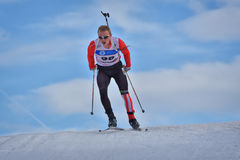 Cheile Gradistei, Roamania - January 30: Unknown competitor in IBU Youth&Junior World Championships Biathlon 24th. Cheile Gradistei, Roamania - January 30 Royalty Free Stock Photos