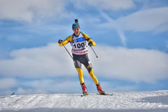 Cheile Gradistei, Roamania - January 30: Unknown competitor in IBU Youth&Junior World Championships Biathlon 24th. Cheile Gradistei, Roamania - January 30 Stock Photos