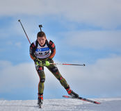 Cheile Gradistei, Roamania - January 28: Unknown competitor in IBU Youth&Junior World Championships Biathlon Royalty Free Stock Images
