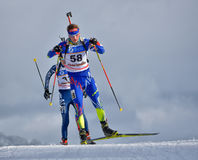 Cheile Gradistei, Roamania - January 24: Unknown copetitor in IBU Youth&Junior World Championships Biathlon 24th of January 2016 t. Cheile Gradistei Royalty Free Stock Photography