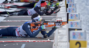 Cheile Gradistei, Roamania - January 24: Unknown copetitor in IBU Youth&Junior World Championships Biathlon 24th of January 2016 t. Cheile Gradistei Stock Photos