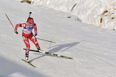 Cheile Gradistei, Roamania - 30 janvier : Concurrent inconnu dans IBU Youth& Junior World Championships Biathlon photos stock