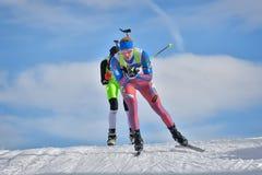 Cheile Gradistei Roamania, Styczeń, - 30: Niewiadomy konkurent w IBU Youth&Junior mistrzostw Światowym Biathlon 24th Obrazy Royalty Free