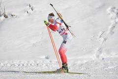 Cheile Gradistei Roamania, Styczeń, - 30: Niewiadomy konkurent w IBU Youth&Junior mistrzostw Światowym Biathlon 24th Fotografia Stock