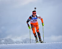 Cheile Gradistei Roamania, Styczeń, - 27: Niewiadomy konkurent w IBU Youth&Junior mistrzostw Światowym Biathlon 24th 2016 Styczeń Fotografia Royalty Free