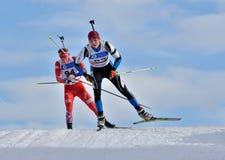 Cheile Gradistei Roamania, Styczeń, - 28: Niewiadomy konkurent w IBU Youth&Junior mistrzostw Światowym Biathlon 24th 2016 Styczeń Fotografia Stock