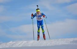 Cheile Gradistei Roamania, Styczeń, - 28: Niewiadomy konkurent w IBU Youth&Junior mistrzostw Światowym Biathlon 24th 2016 Styczeń Zdjęcia Stock