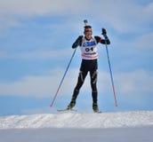 Cheile Gradistei Roamania, Styczeń, - 28: Niewiadomy konkurent w IBU Youth&Junior mistrzostw Światowym Biathlon 24th 2016 Styczeń Obraz Stock