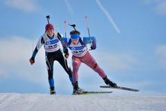 Cheile Gradistei Roamania, Styczeń, - 28: Niewiadomy konkurent w IBU Youth&Junior mistrzostw Światowym Biathlon 24th 2016 Styczeń Obrazy Stock
