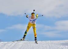 Cheile Gradistei Roamania, Styczeń, - 28: Niewiadomy konkurent w IBU Youth&Junior mistrzostw Światowym Biathlon 24th 2016 Styczeń Zdjęcie Stock