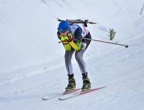 Cheile Gradistei Roamania, Styczeń, - 28: Niewiadomy konkurent w IBU Youth&Junior mistrzostw Światowym Biathlon 24th 2016 Styczeń Zdjęcie Royalty Free