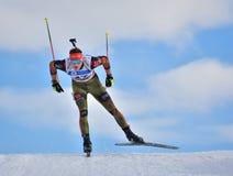 Cheile Gradistei Roamania, Styczeń, - 28: Niewiadomy konkurent w IBU Youth&Junior mistrzostw Światowym Biathlon 24th 2016 Styczeń Obraz Royalty Free