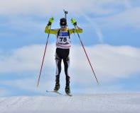 Cheile Gradistei Roamania, Styczeń, - 28: Niewiadomy konkurent w IBU Youth&Junior mistrzostw Światowym Biathlon 24th 2016 Styczeń Fotografia Royalty Free