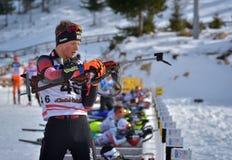 Cheile Gradistei Roamania, Styczeń, - 24: Niewiadomy konkurent w IBU Youth&Junior mistrzostw Światowym Biathlon 24th 2016 Styczeń Obrazy Stock