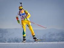 Cheile Gradistei Roamania, Styczeń, - 24: Niewiadomy konkurent w IBU Youth&Junior mistrzostw Światowym Biathlon 24th 2016 Styczeń Obraz Royalty Free