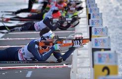 Cheile Gradistei Roamania, Styczeń, - 24: Niewiadomy konkurent w IBU Youth&Junior mistrzostw Światowym Biathlon 24th 2016 Styczeń Zdjęcia Royalty Free