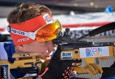 Cheile Gradistei Roamania, Styczeń, - 24: Niewiadomy konkurent w IBU Youth&Junior mistrzostw Światowym Biathlon 24th 2016 Styczeń Obraz Stock