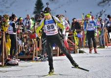 Cheile Gradistei Roamania, Styczeń, - 24: Niewiadomy konkurent w IBU Youth&Junior mistrzostw Światowym Biathlon 24th 2016 Styczeń Zdjęcie Royalty Free