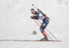 Cheile Gradistei Roamania, Styczeń, - 24: Niewiadomy konkurent w IBU Youth&Junior mistrzostw Światowym Biathlon 24th 2016 Styczeń Fotografia Royalty Free