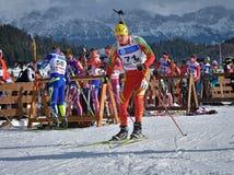 Cheile Gradistei Roamania, Styczeń, - 24: Niewiadomy konkurent w IBU Youth&Junior mistrzostw Światowym Biathlon 24th 2016 Styczeń Zdjęcie Stock