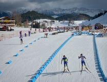 Cheile Gradistei Roamania, Styczeń, - 27: Niewiadomy konkurent w IBU Youth&Junior mistrzostw Światowym Biathlon 24th 2016 Styczeń Zdjęcie Royalty Free