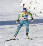 Cheile Gradistei Roamania, Styczeń, - 30: Niewiadomy konkurent w IBU Youth&Junior mistrzostw Światowym Biathlon 24th 2016 Styczeń Zdjęcia Stock