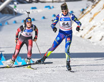 Cheile Gradistei Roamania, Styczeń, - 30: Niewiadomy konkurent w IBU Youth&Junior mistrzostw Światowym Biathlon 24th 2016 Styczeń Zdjęcie Royalty Free