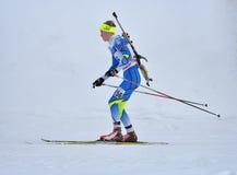 Cheile Gradistei Roamania, Styczeń, - 28: Niewiadomy konkurent w IBU Youth&Junior mistrzostw Światowym Biathlon 24th 2016 Styczeń Obrazy Royalty Free