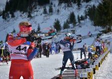 Cheile Gradistei Roamania, Styczeń, - 24: Niewiadomy konkurent w IBU Youth&Junior mistrzostw Światowym Biathlon 24th 2016 Styczeń Zdjęcia Stock