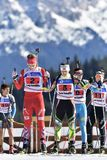 Cheile Gradistei, Roemenië - Januari 30: Onbekende concurrent in IBU Youth& Junior World Championships Biathlon Royalty-vrije Stock Fotografie