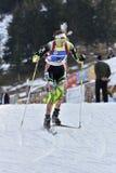 Cheile Gradistei, Roemenië - Januari 30: Onbekende concurrent in IBU Youth& Junior World Championships Biathlon vierentwintigste Stock Afbeeldingen