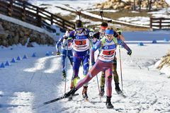 Cheile Gradistei, Roemenië - Januari 30: Onbekende concurrent in IBU Youth& Junior World Championships Biathlon vierentwintigste Royalty-vrije Stock Afbeelding
