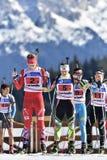 Cheile Gradistei, Romania - 30 gennaio: Concorrente sconosciuto in IBU Youth& Junior World Championships Biathlon Fotografia Stock Libera da Diritti