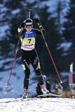 Cheile Gradistei, Romania - 30 gennaio: Concorrente sconosciuto in IBU Youth& Junior World Championships Biathlon ventiquattresim Fotografia Stock