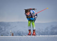 Cheile Gradistei, Romania - January 24: Unknown competitor in IBU Youth&Junior World Championships Biathlon 24th Royalty Free Stock Photo