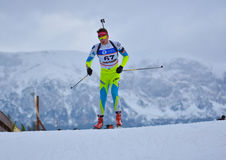Cheile Gradistei, Romania - January 24: Unknown competitor in IBU Youth&Junior World Championships Biathlon 24th Royalty Free Stock Photos