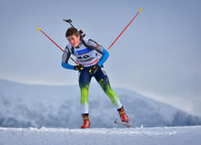 Cheile Gradistei, Romania - January 24: Unknown competitor in IBU Youth&Junior World Championships Biathlon 24th Stock Image