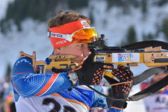 Cheile Gradistei, Romania - January 24: Unknown competitor in IBU Youth&Junior World Championships Biathlon 24th Stock Photography