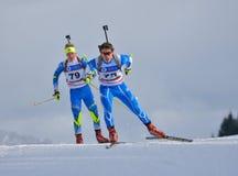 Cheile Gradistei, Rumänien - 24. Januar: Unbekannter Konkurrent in IBU Youth& Junior World Championships Biathlon 24. Stockfotos
